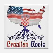American Croatian Roots Tile Coaster