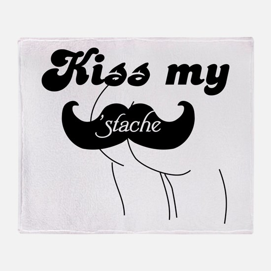 Kiss my stache Throw Blanket