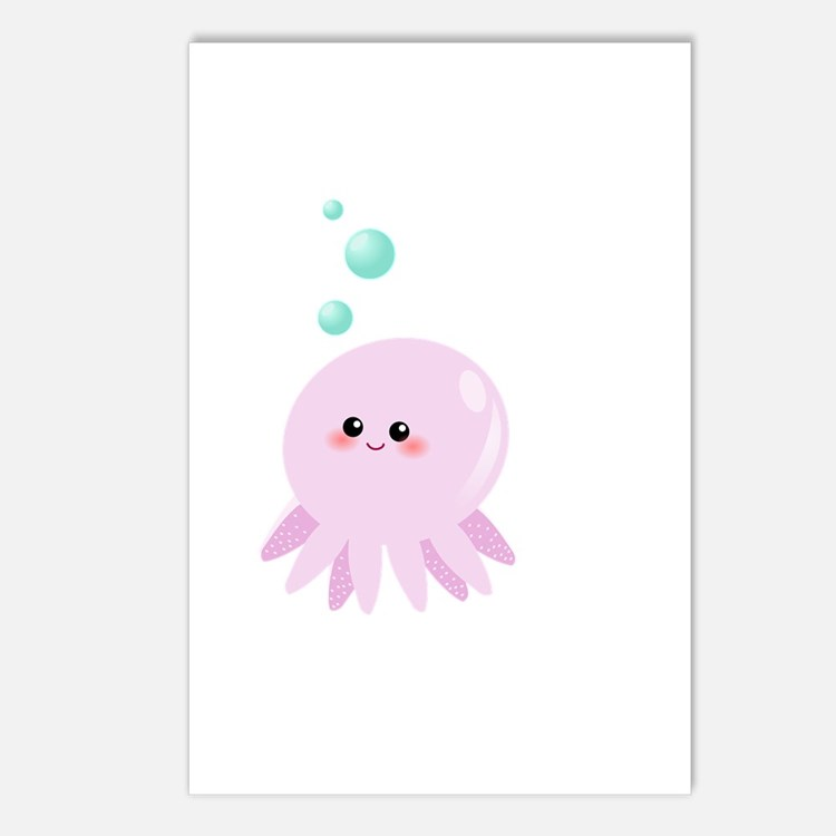 Cute pink octopus Postcards (Package of 8)