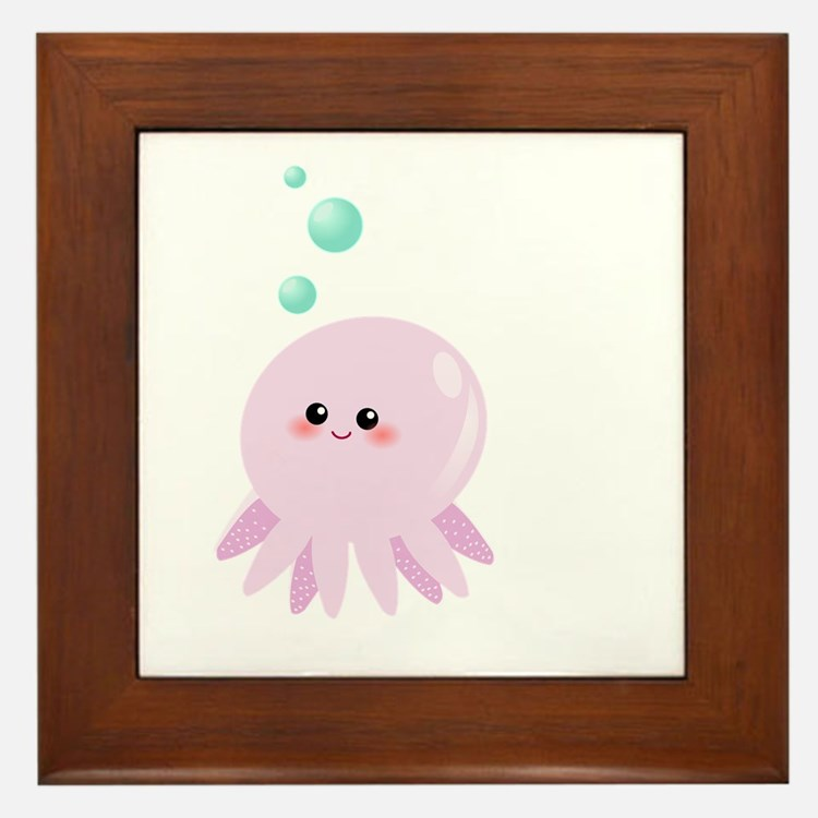 Cute pink octopus Framed Tile