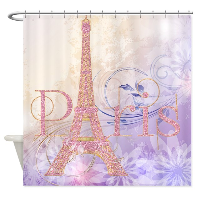 Pink Glitter Eiffel Tower Paris Shower Curtain By Getyergoat