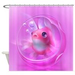 Cute Pink Fish Shower Curtain