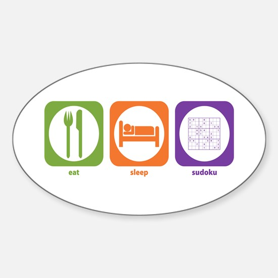 Eat Sleep Sudoku Oval Decal