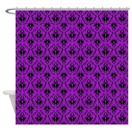 Purple Damask Pattern Shower Curtain By Metarla2