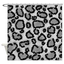 Gray Leopard Print. Shower Curtain