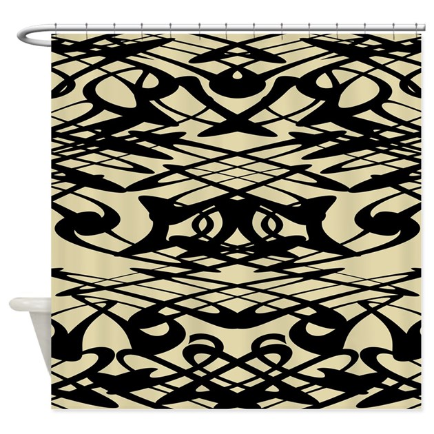 Black Swirls On Beige Shower Curtain By Metarla2