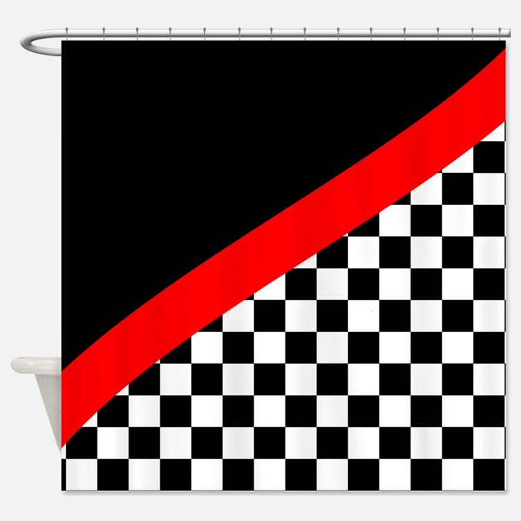 Racing Checkered Design Shower Curtain