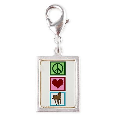 Peace Love Horses Silver Portrait Charm