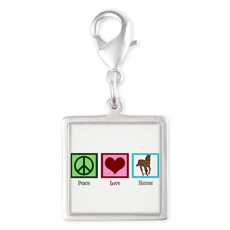 Peace Love Horses Silver Square Charm