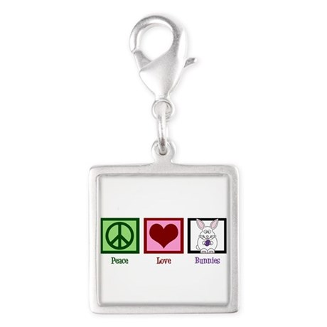 Peace Love Bunnies Silver Square Charm