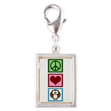 Peace Love Owls Silver Portrait Charm