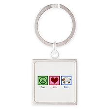 Peace Love Sheep Square Keychain