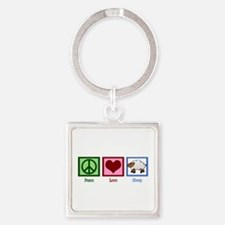 Peace Love Sheep Square Keychain