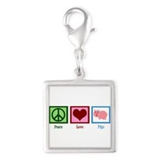 Peace Love Pigs Silver Square Charm