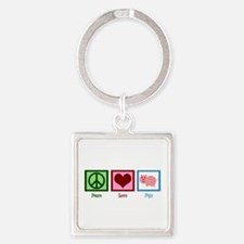 Peace Love Pigs Square Keychain