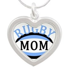 Proud Rugby Mom Light Blue Silver Heart Necklace