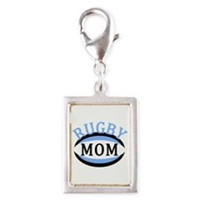 Proud Rugby Mom Light Blue Silver Portrait Charm