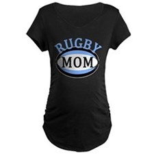 Proud Rugby Mom Light Blue Maternity T-Shirt