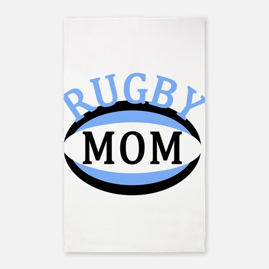 Proud Rugby Mom Light Blue 3'x5' Area Rug