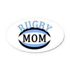 Proud Rugby Mom Light Blue Oval Car Magnet