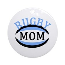 Proud Rugby Mom Light Blue Ornament (Round)