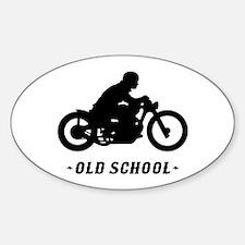Old School Motorcycle (male) Sticker (Oval)