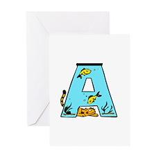 Aquarium Monogram A Greeting Card