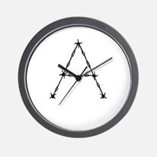 Barbed Wire Monogram A Wall Clock