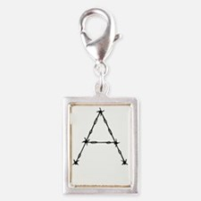 Barbed Wire Monogram A Silver Portrait Charm