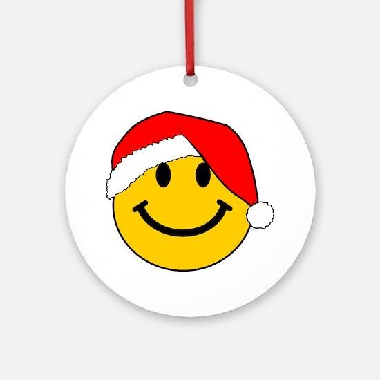 Christmas Santa Smiley Ornament (Round)