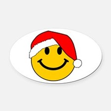 Christmas Santa Smiley Oval Car Magnet