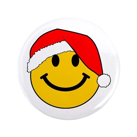 "Christmas Santa Smiley 3.5"" Button (100 pack)"