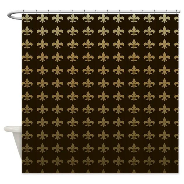 Chocolate Fleur De Lis Shower Curtain By Magicgardendesigns
