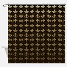 Chocolate Fleur de lis Shower Curtain
