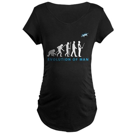evolution of man with model plane Maternity T-Shir
