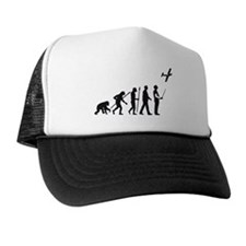 evolution of man with model plane Trucker Hat
