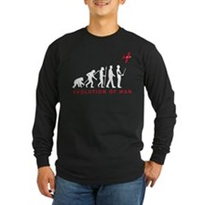 evolution of man with model plane Long Sleeve T-Sh