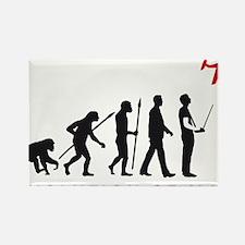 evolution of man with model plane Rectangle Magnet