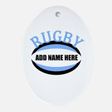Rugby Add Name Light Blue Ornament (Oval)