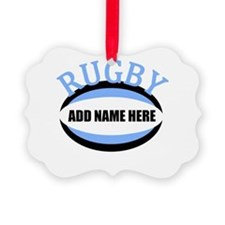 Rugby Add Name Light Blue Ornament