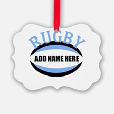 Rugby Add Name Light Blue Picture Ornament