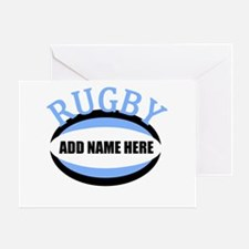 Rugby Add Name Light Blue Greeting Card