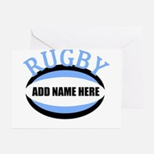 Rugby Add Name Light Blue Greeting Cards (Pk of 20