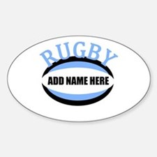 Rugby Add Name Light Blue Stickers