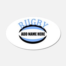 Rugby Add Name Light Blue Wall Sticker