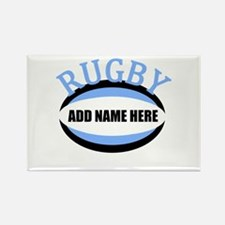 Rugby Add Name Light Blue Rectangle Magnet (10 pac