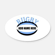 Rugby Add Name Light Blue Oval Car Magnet