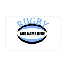 Rugby Add Name Light Blue Rectangle Car Magnet