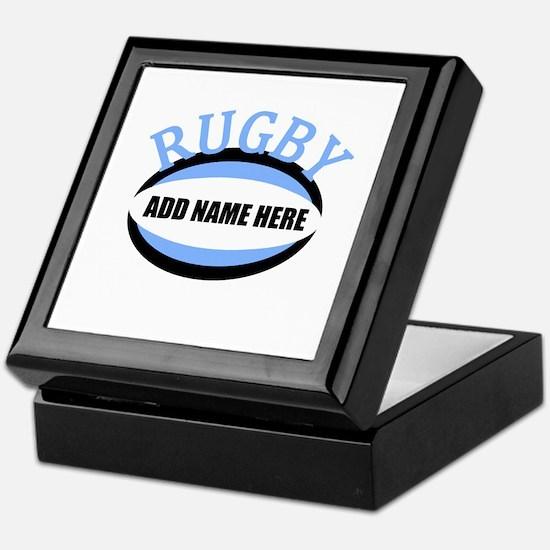 Rugby Add Name Light Blue Keepsake Box