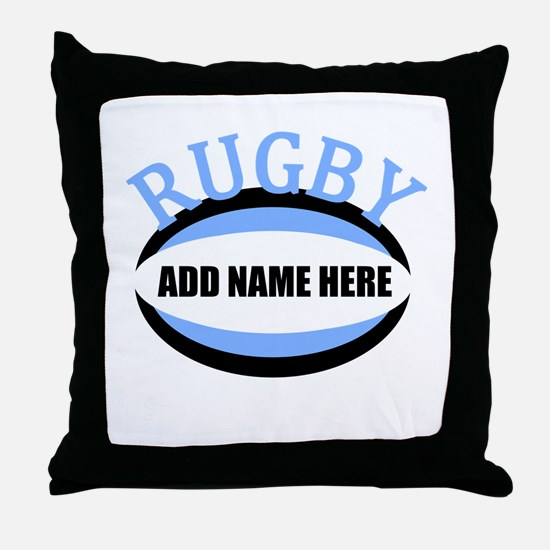 Rugby Add Name Light Blue Throw Pillow